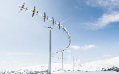 Полет на самолёте между ветрогенераторами