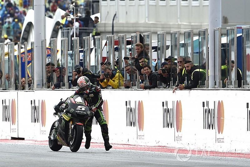 Жоан Зарко толкал мотоцикл к финишу MotoGP
