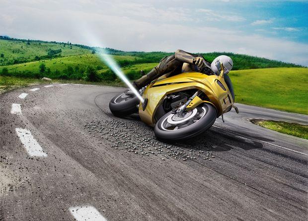 Система предупреждения падения мотоцикла из-за проскальзывания сжатым газом от Bosch