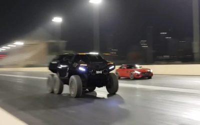 Шестиколесный джип против Mercedes-AMG GT S в дрэг-гонке